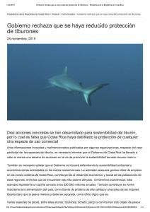 Segmento de un comunicado oficial del gobierno de Costa Rica