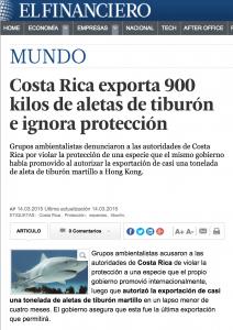 Nuestro gobierno autorizó la exportación de aletas de tiburón contra la recomendación científica. http://www.elfinanciero.com.mx/mundo/costa-rica-exporta-900-kilos-de-aletas-de-tiburon-e-ignora-proteccion.html